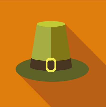 pilgrim hat: Pilgrim hat icon in flat style isolated with long shadow vector illustration