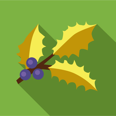 ilex: Holly berry leaves and fruits icon in flat style isolated with long shadow vector illustration