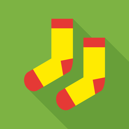 long socks: Pair of woolen socks icon in flat style isolated with long shadow vector illustration