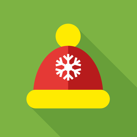 Knitted red cap icon in flat style isolated with long shadow vector illustration Illustration