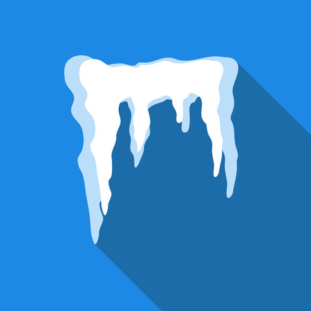 thaw: Icicles icon in flat style isolated with long shadow vector illustration