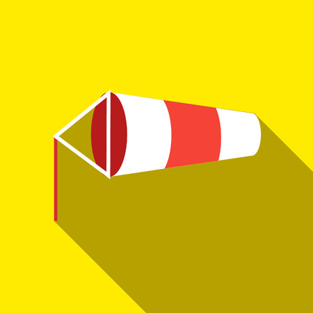 Windsock inflated by wind icon in flat style isolated with long shadow vector illustration