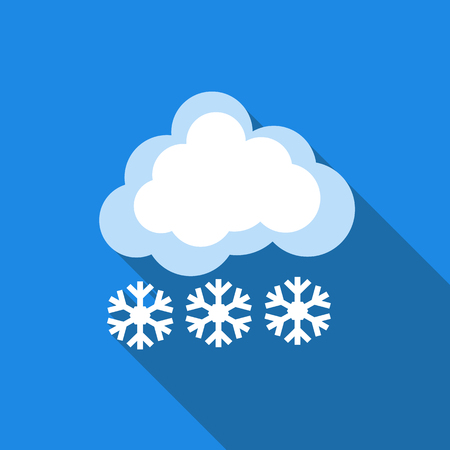 blizzards: Cloud with snow icon in flat style isolated with long shadow vector illustration