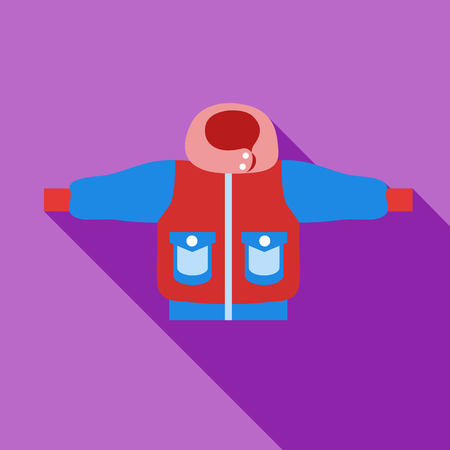 winter jacket: Winter jacket icon in flat style isolated with long shadow vector illustration Illustration