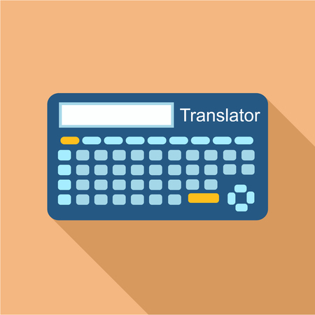 timekeeping: Electronic device to translate from one language to another icon in flat style isolated with long shadow vector illustration Illustration
