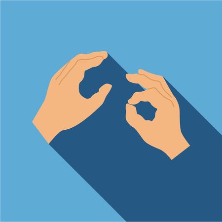 Main, signe, langue, icône, plat, plat, isolé, long, ombre, vecteur, Illustration