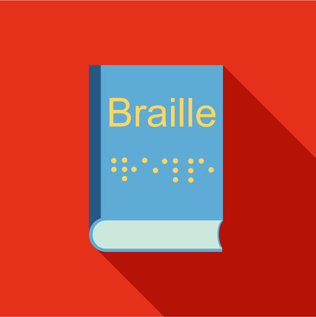 sense of sight: Blindness, Braille writing system icon in flat style isolated with long shadow vector illustration