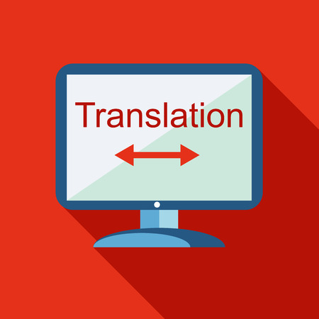 translator: Desktop translator icon in flat style isolated with long shadow vector illustration