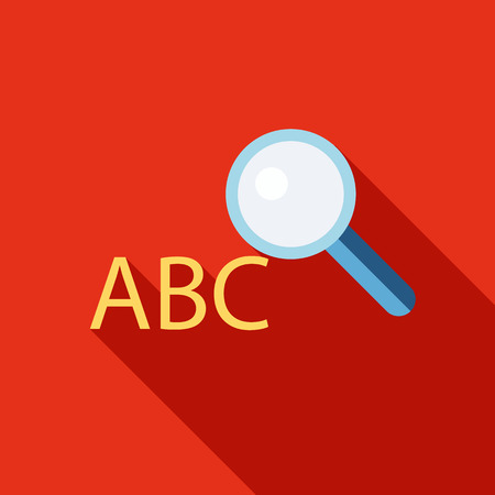 Search dictionary icon in flat style isolated with long shadow vector illustration Illustration
