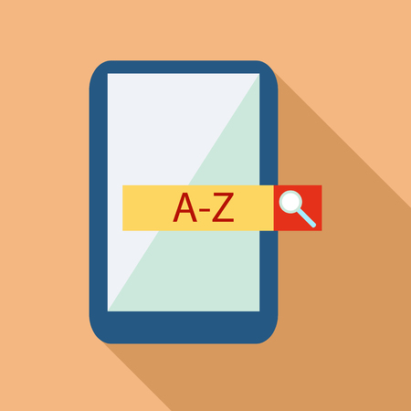 translator: Mobile app with translator icon in flat style isolated with long shadow vector illustration