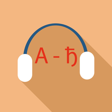 language learning: Headphones for language learning icon in flat style isolated with long shadow vector illustration