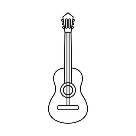 Acoustic guitar icon in outline style isolated on white background vector illistration Illustration