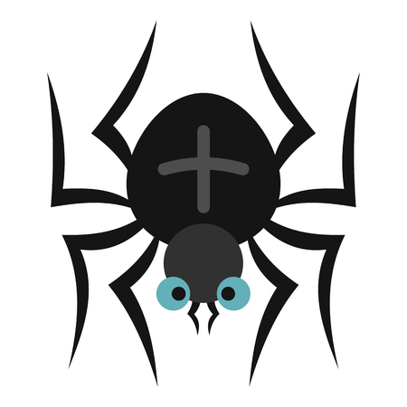spidery: Spider icon in flat style isolated on white background. Insect symbol vector illustration