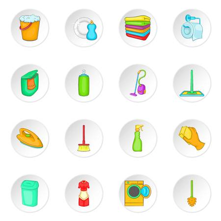 Household elements icons set in cartoon style. Cleaning tools set collection vector illustration