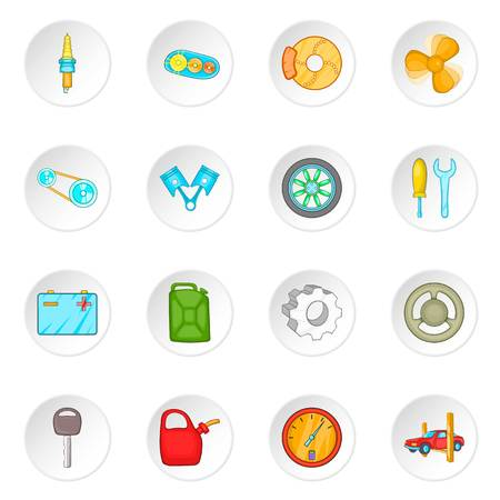 spare: Car maintenance icons set in cartoon style. Auto spare parts set collection vector illustration