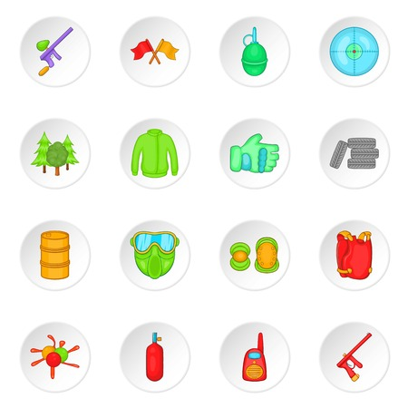 holster: Paintball icons set in cartoon style. Airsoft equipment and outfit set collection vector illustration