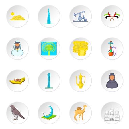 cormorant: UAE icons set in cartoon style. United Arab Emirates elements set collection vector illustration