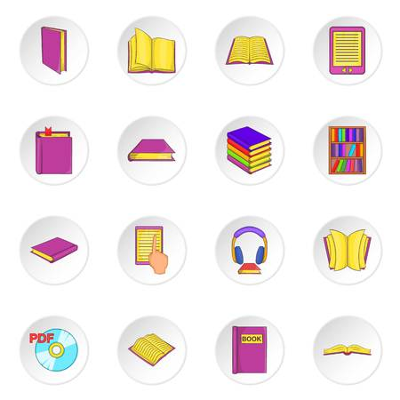 magazine stack: Books icons set in cartoon style. Library elements set collection vector illustration