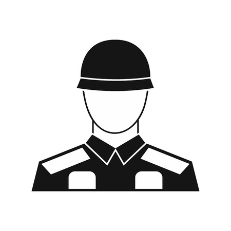 infantryman: Soldier icon in simple style on a white background vector illustration