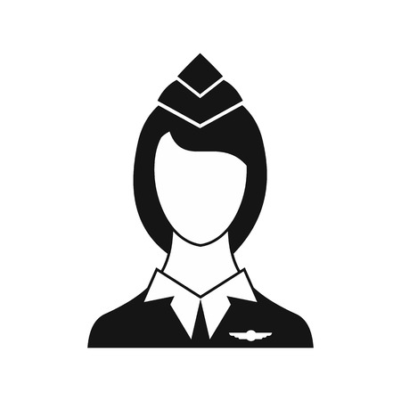 Stewardess icon in simple style on a white background vector illustration Illustration