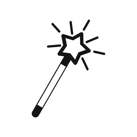 witchery: Magic wand icon in simple style on a white background vector illustration