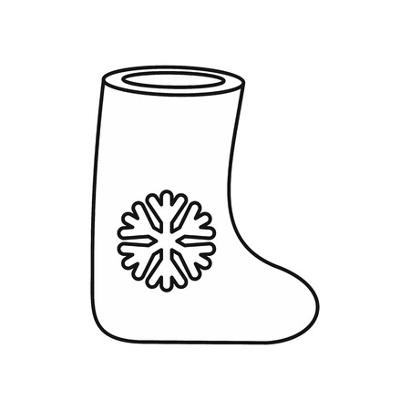 Felt boot icon in outline style on a white background vector illustration Illustration