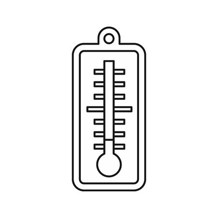 low temperature: Thermometer indicates low temperature icon in outline style on a white background vector illustration Illustration