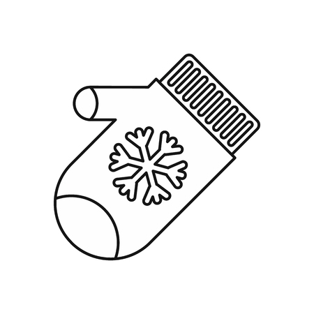 mitten: Mitten with snowflake icon in outline style on a white background vector illustration Illustration