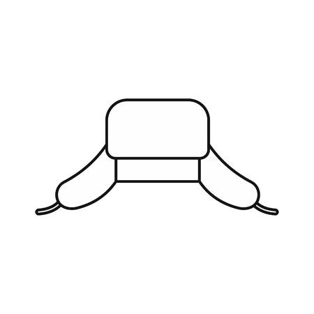 Hut mit Ohrenschützerikone in der Entwurfsart auf einer weißen Hintergrundvektorillustration