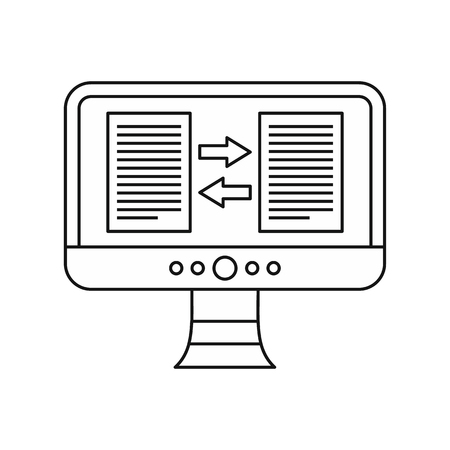 translator: Translator app on the computer screen icon in outline style on a white background vector illustration