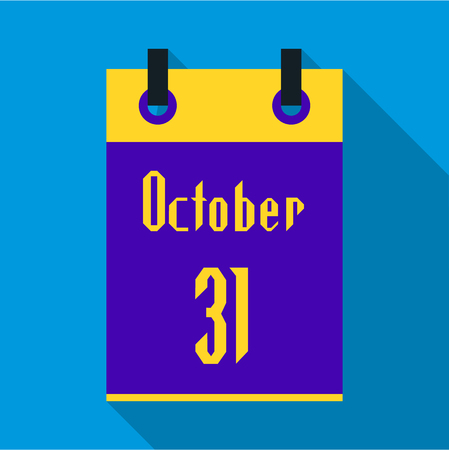 calendar october: Calendar october thirty first icon in flat style with long shadow. Date of Halloween symbol vector illustration