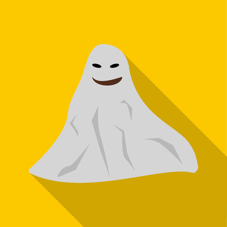 Ghost icon in flat style with long shadow. Entertainment symbol vector illustration