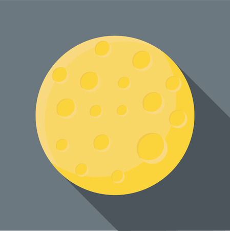 long night: Moon icon in flat style with long shadow. Night symbol vector illustration