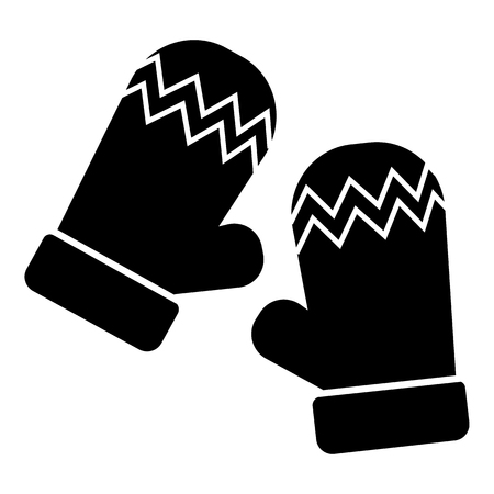 ski wear: Mittens icon in simple style isolated on white background. Accessory symbol vector illustration