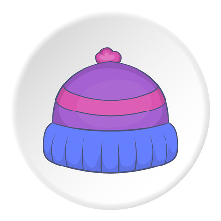 ski wear: Winter hat icon in cartoon style on white circle background. Accessory symbol vector illustration