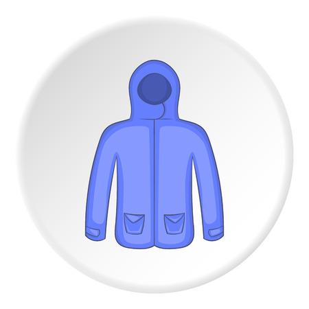 winter jacket: Mens winter jacket icon in cartoon style on white circle background. Clothing symbol vector illustration
