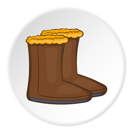 hick: Felt boots icon in cartoon style on white circle background. Shoes symbol vector illustration Illustration