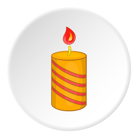Festive candle icon in cartoon style on white circle background. Holiday symbol vector illustration