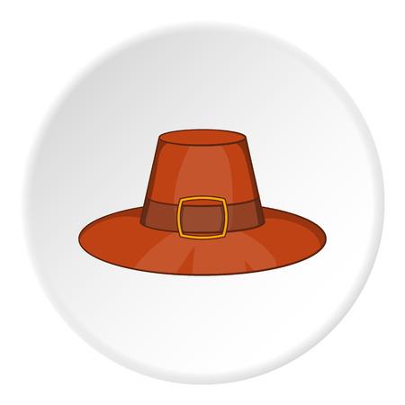 headdress: Gentlemans hat icon in cartoon style on white circle background. Headdress symbol vector illustration Illustration