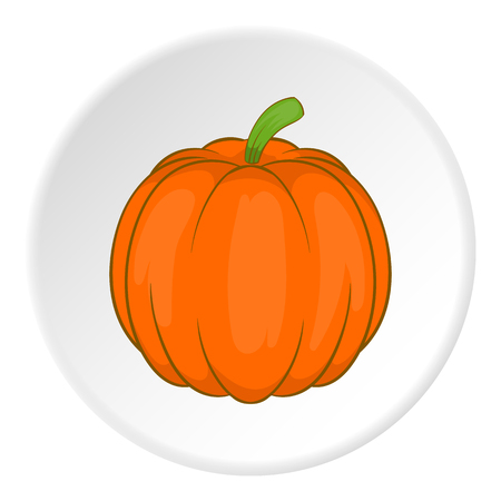 Pumpkin icon in cartoon style on white circle background. Vegetables symbol vector illustration