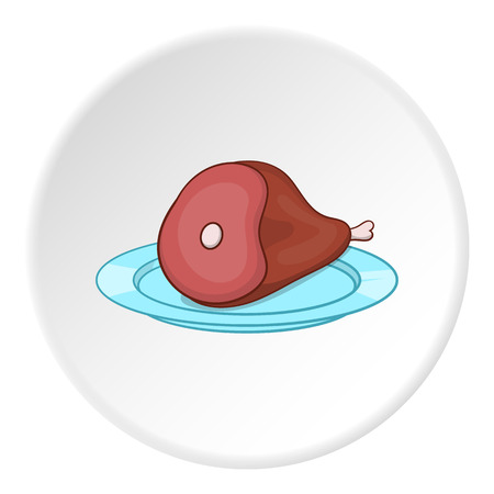 Piece of meat in plate icon in cartoon style on white circle background. Food symbol vector illustration