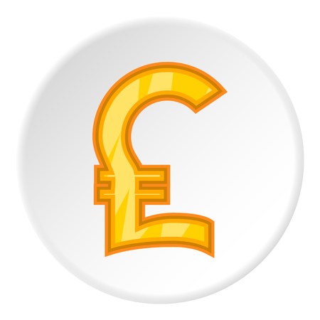 money pound: Sign of money pound sterling icon in cartoon style on white circle background. Currency symbol vector illustration