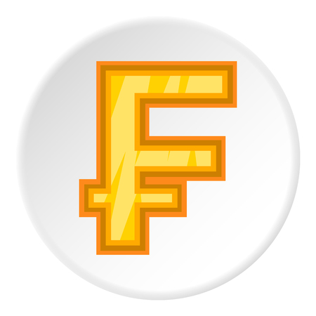 Sign of money frank icon in cartoon style on white circle background. Currency symbol vector illustration