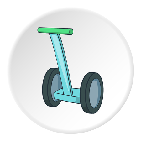 commuting: Segway icon in cartoon style on white circle background. Transport symbol vector illustration