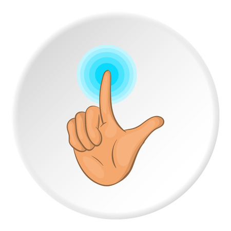 gestural: Gesture idea icon in cartoon style on white circle background. Gestural symbol vector illustration