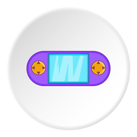psp: PSP icon in cartoon style on white circle background. Play symbol vector illustration Illustration