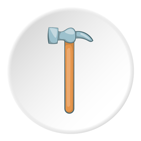 Hammer icon in cartoon style on white circle background. Tools symbol vector illustration Illustration