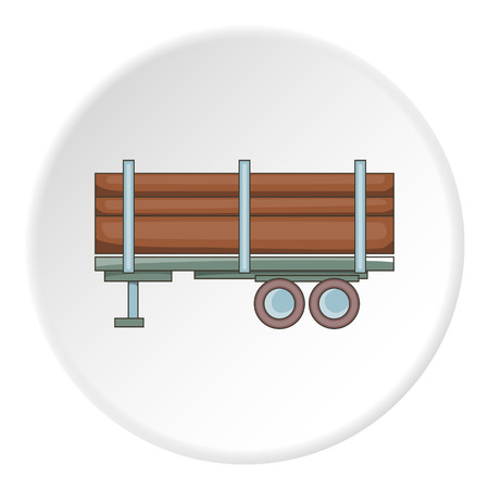 logging: Logging truck with logs icon in cartoon style on white circle background. Felling symbol vector illustration