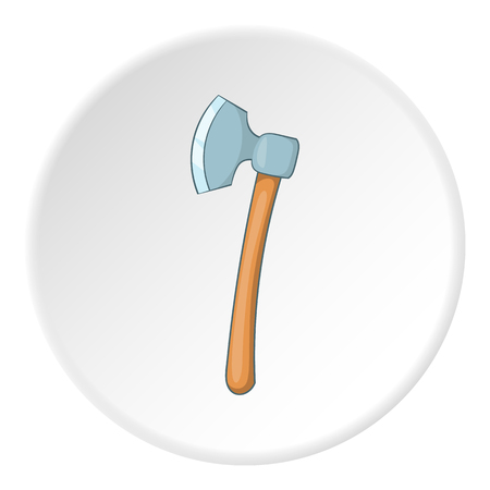 Axe icon in cartoon style on white circle background. Equipment symbol vector illustration
