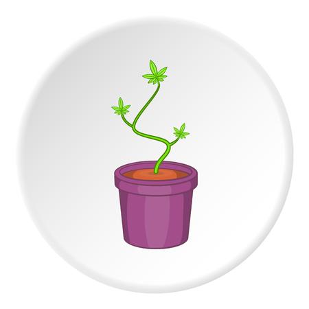 marihuana: Pot marijuana icon in cartoon style on white circle background. Drug symbol vector illustration